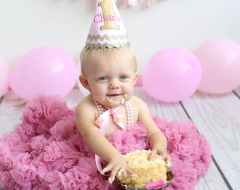 Girl Birthday Hat - Pink and Gold - Personalized