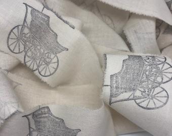 Vintage Baby Carriage  Muslin Trim, Hand Stamped Trim, French Style Ribbon, Baby Ribbon Trim, Hand Stamped Trim,  French Country Trim, ECS