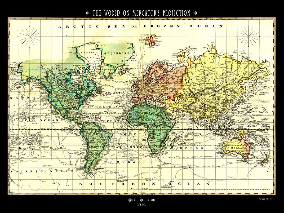 Pull down map world 1841 48w x 36h school chart school map wall 48w x 36h school chart school map wall chart hanging map antique wall map map the world gumiabroncs Images