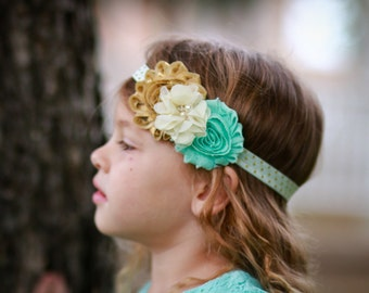 Gold baby headband - mint and gold headband - polka dot headband - shabby chic headband - polka dot baby headband - gold metallic headband