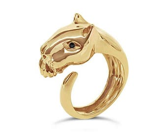 Yellow Gold Jaguar Panther with Black Sapphire Ring
