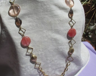 Retro Pink Amber Colored Beaded  Glass Teardrop Chain Necklace