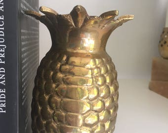 vintage solid brass pineapple vase
