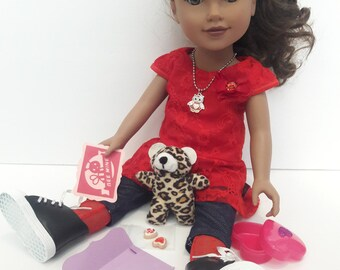 Bee My Valentine Playset - 15-18 Inch Doll Valentine Set Sweetheart Day American Girl Sized Doll or Stuffed Animal