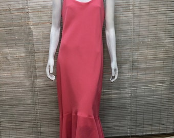 Flounce Dress Pelicana Pink Sleeveless Scoop Neck Trumpet Flounce Long Vintage Dress Size XL