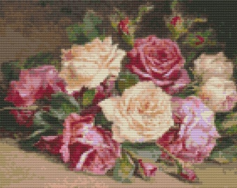 Flowers Cross Stitch Kit, Bed of Roses Cross Stitch, Embroidery Kit, Art Cross Stitch, Floral Cross Stitch