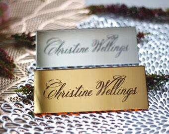 Gold mirror name place cards, calligraphy seating cards in gold, silver, or clear