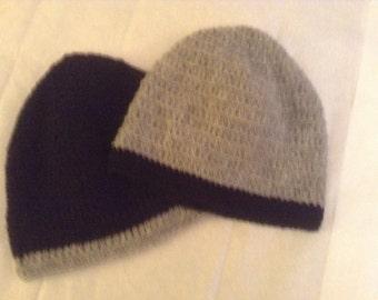 Classic  2-Colors Crochet Beanie/Hat/Cap,100% Wool, for Men /Women