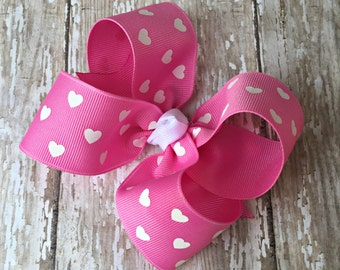 """Pink Heart Hair Bow Valentine Large Hair Bow 4"""" Alligator Clip Girls Hairbow Pink Heart Hair Bow Pink Large Bow 4 Inch Pink Hair Bow"""
