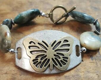 Natural Jasper Butterfly Toggle Bracelet