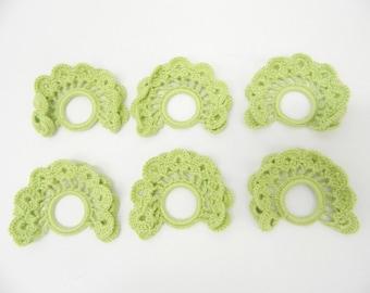 1960s Crochet Napkin Rings...Set of 6...Green Handmade Fan Shaped...Doily Napkin Rings...Table Decor Entertainment...Retro