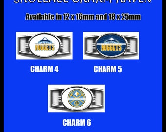 DENVER NUGGETS Shoelace Charm  Paracord Bracelet Charm Oval Charm 12 x 16mm or 18 x 25mm Charms