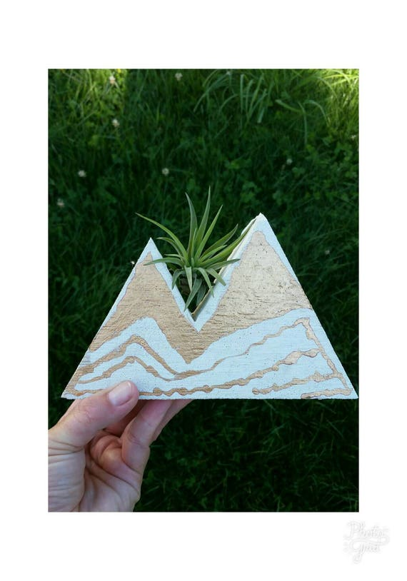 White & Gold Concrete Mountain Decor,Air Planter,Air Plant Holder,Modern Mountain Decor, Concrete Home Decor, Jewelry Holder,Jewelry Display