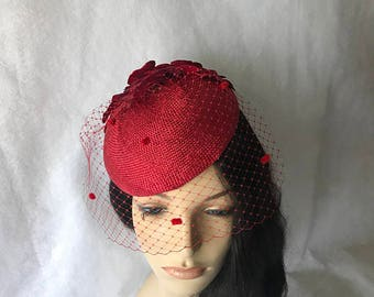 Red Fascinator with Veil, Red Tea Party Hat,Red Church Hat,Red Kentucky Derby Hat, Red Fancy Hat, Red Hat, Red wedding hat, Red Women's hat