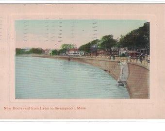 "Massachusetts, Vintage Postcard, ""New Boulevard from Lynn to Swampscott, Mass.""  1912, #1090."
