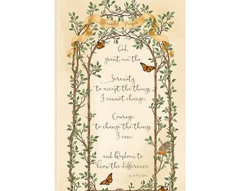20 % off thru 5/31 SERENITY PRAYER Fabric Panel Quilting Treasures- CHRISTIAN-cotton panel 23 by 44 inches 25844X-cream
