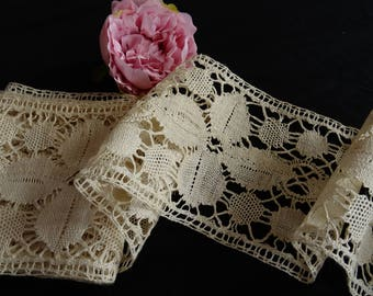 "2.58m Vintage 5"" deep Handmade French Bobbin lace hemp linen trim insertion lace"