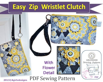 Instant Download Sewing PDF Pattern: Easy Zip Wristlet E-Reader Case. iPad Mini, Kindle, Kobo, Google Nexus, Samsung Galaxy Tab, Smartphone