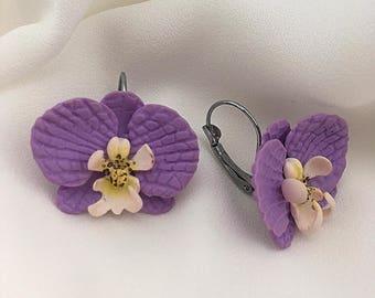 Orchid earrings, Purple violet earrings, Polymer clay earrings, Flower earrings, Wedding prom earrings, Gift for her, Girls small earrings