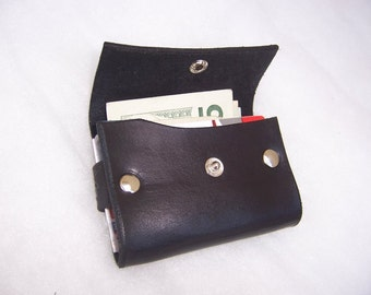 Small Leather Credit Card, Business Card Case (The Little Wallet That Can)  Full Grain Leather Wallet in Black.  Handmade In the USA.