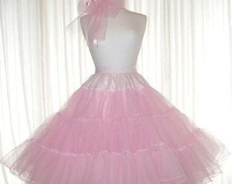 Pink custom made vintage 5 layer 50's 60's style stiff net petticoat