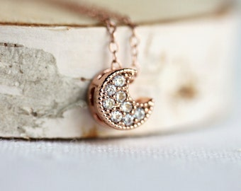 Rose Gold Moon Necklace,Cubic Zirconia,Rose Gold Moon,Moon Necklace,Tiny Moon,Small Crescent Moon,Layer Necklace,Rose Gold Crescent Moon
