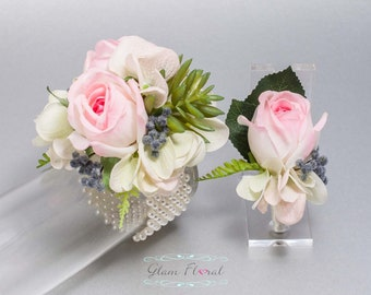 Succulent Corsage and Boutonniere Set - Real Touch Flowers, Prom Corsage, Succulent Boutonniere, Succulent Wrist Corsage, Pink Navy Green