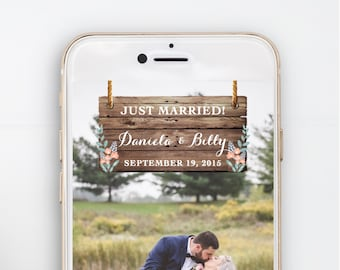 Snapchat Geofilter Wedding, Happily Ever After, Just Married, Special Occasion, Rustic, Navy, Wood, Floral, Flowers, Banner