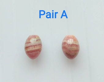 Pink Rhodochrosite Half Drilled Smooth 8.5x12 mm Olive Acorn Drops with banding One Pair J6403