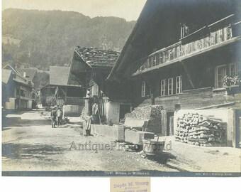 Wilderswil Switzerland village peasants antique photo
