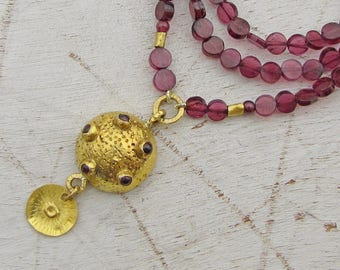 24k Gold Necklace /  Garnet Necklace / Gold Garnet Necklace / 24k Gold Pendant