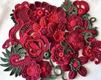 Set of flowers Crochet rose DIY Kit to create Irish crochet Crochet Flower Red rose Flower application Handmade appliques Flowers 10 pcs