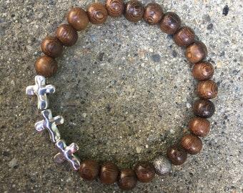 8mm mens wood bracelet cross jewelry religious beaded bracelets