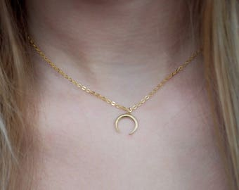 Gold Plated Crescent Moon Choker Necklace  | Luna | Boho | UK | layering |