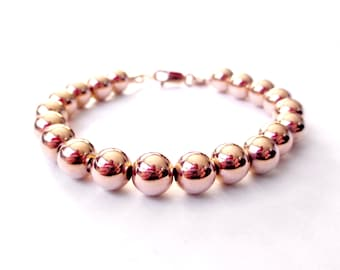 Bracelet - 8mm 14K Rose Gold Filled Bead Bracelet - Everyday Wear -  Simple Rose Gold Ball Bracelet - Pink Gold Beaded Bracelet