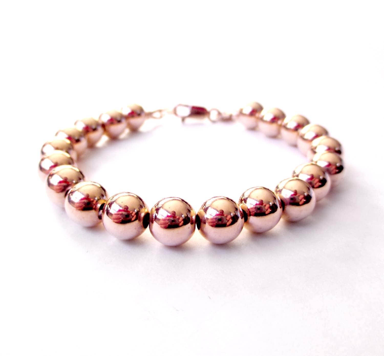 Bracelet 8mm 14K Rose Gold Filled Bead Bracelet Everyday