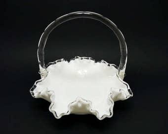 Vintage Fenton Silver Crest Basket, Milk Glass Basket, Fenton Milk Glass, Fenton Silver Crest, Milk Glass Bowl, Fenton Double Crimped Basket