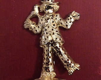 Torino Gold Metal Scarecrow Earring Holder, Vintage, Jewelry Holder, Gift, Décor