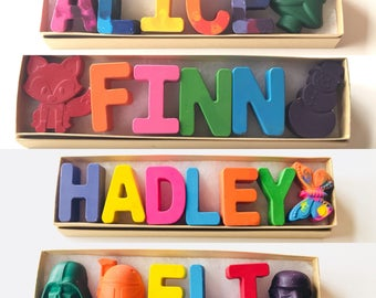 Name Crayons Gift Set, Letter Shaped Crayons, Personalized Easter Christmas Birthday Gift, Personalized Name Crayon, Gifts under 20