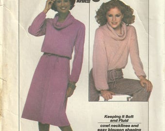 Simplicity 8162 Misses Vintage 70s Cowl Neck Top Skirt Dress Sewing Pattern Size 14 - 16