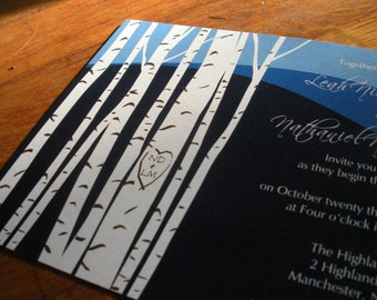 "Rustic Carved Heart Birch Tree Invitation Suite - ""The Sabrina"""