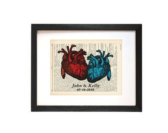 Anatomy heart print-heart print-valentines gift-dictionary heart print-heart on book page-Anatomy wall art-medical decor-couples gift-DP178