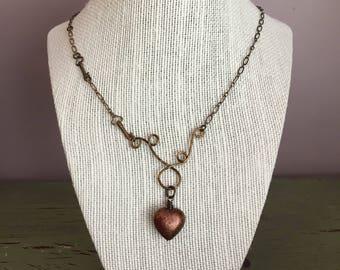 Heart and Keys Brass Necklace