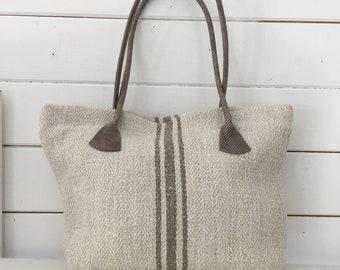 Upcycled Olive Grey Stripe Linen Handbag Vintage Hungarian Striped Linen Speckled Leather Straps Pockets Organiser Hand Bag