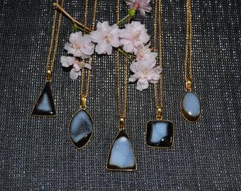 Black Quartz Druzy Stone Necklace/18k Gold Filled Chain/Minimalist Necklace/Bridal/Boho Jewelry/Natural Drusy/Bezel Set Druzy Statement