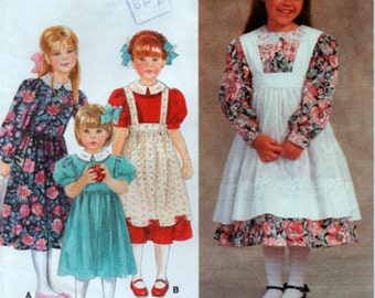 1990s Toddlers Dress and Apron Pinafore Sewing Pattern Size T2 3 4 Simplicity 8690
