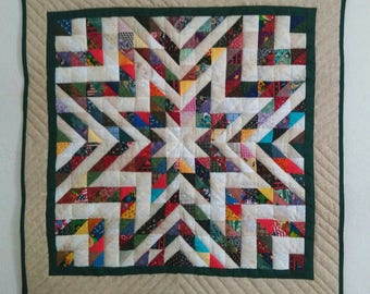Quilted Star Wall Hanging, Scrappy Quilt, Square Table Topper, Patchwork, Mother's Day Gift