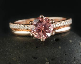 Rose Gold Peach Pink Sapphire Engagement Ring & Comfort Fit Wedding Ring Set - Bridal Set