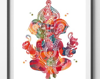 Ganesha Watercolor Print God Lord Ganesh Poster Spiritual Art Yoga Mantra Wall  Decor Ganapati Vinayaka Ganesh