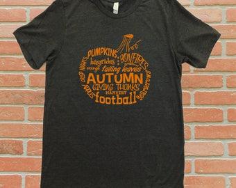 Pumpkin Word Art T-Shirt, Wordy Pumpkin Shirt, Autumn Words T-Shirt, Pumpkin T-Shirt, Fall T-Shirt, Halloween Shirt, Thanksgiving